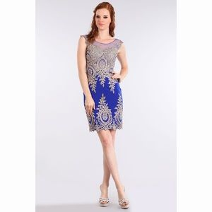 Royal Blue & Gold Dress 1573